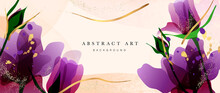 Abstract Art Flower Background Vector. Luxury Minimal Style Wallpaper With Golden Line Art Floral And Botanical Leaves, Tulip, Rose, Spring Growing Flowers And Organic Shapes Watercolor.