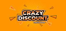 Vector Graphic Crazy Discount Yellow Sale Banner