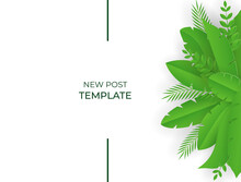 Summer Background With Green Leaves In Paper Cut Style