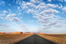 Inspirational, Scenic Road Near Sossusvlei In The Namib-Naukluft National Park, Namib Desert, Namibia, Africa.