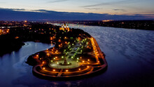 Yaroslavl, Russia. Cathedral Of The Assumption Of The Blessed Virgin Mary (Assumption Cathedral). City Lights After Sunset, Twilight, Aerial View