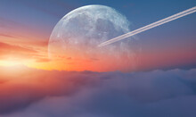 """Jet Airplane With Trail Of Fuel On Blue Sky Full Moon In The Background At Sunset""""Elements Of This Image Furnished By NASA"""""""