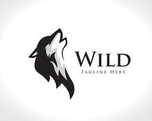 Simple Elegant Head Wolf Howling Drawing Art Logo Design Illustration Inspiration