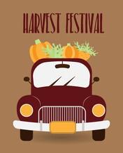 Vintage Truck Harvest Red Car With Pumpkins. Pickup Truck With Harvest