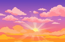 Sunset Sky With Clouds. Beautiful Purple To Yellow Sky Anime Background With Sunrays And Pink Fluffy Clouds. Cartoon Vector Illustration. Sunrise Morning Cloudscape Or Outdoor Twilight