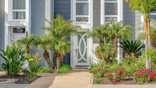 Pano Facade Of Modern Townhomes In Huntington Beach California On A Sunny Day View