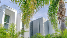 Pano Palm Trees And Modern Home In Sunny Huntington Beach California With Cloudy Sky