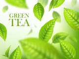 Green tea leaves, organic herbal background, vector template for beverage advertising. Falling 3d green leaves with blurr defocused effect. Realistic poster design with macro plant leaves in motion