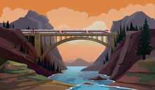 Train On Bridge. Railway Travel Cartoon Vector Scene With Modern High Speed Express Crossing Canyon, Mountain River By Bridge. Passenger Transportation, Transport Industry And Railroad Trip Landscape