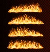 Realistic Fire Flame Trails, Burning Vector Tongues On Transparent Background. Raging Blaze Effect, Glowing Shining Flare Borders Glow, Blazing Inferno Traces Or Lines, Isolated 3d Design Elements Set