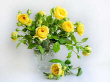 Chic Bouquet Of Yellow Garden Roses For The Beloved On A White Background