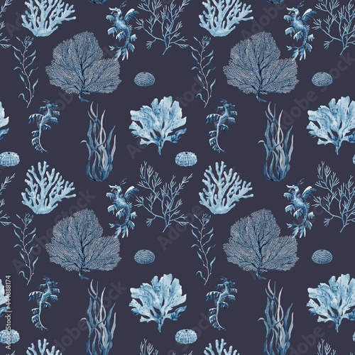 Canvastavla Beautiful seamless underwater pattern with watercolor sea life coral shell and starfish