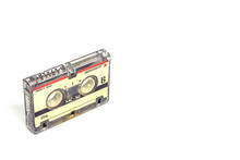 1980's Magnetic Audio Micro Cassette Isolated On White Background