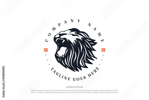 Fotografiet Vintage Retro Angry Lion Head Badge Emblem Logo Design Vector