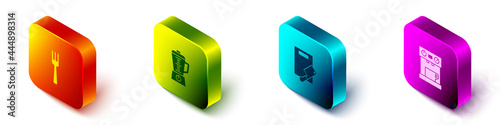 Set Isometric Fork, Blender, Cutting board and meat chopper and Coffee machine icon Fototapet