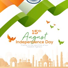 Banner Design Of 15 August Happy Independence Day Template.