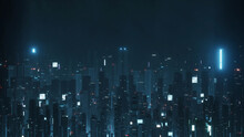 3D Rendering Of Futuristic Virtual Sci Fi City. Many High Sky Scrapper Building Towers.  Concept For Night Life, Business Vision, Cyberpunk, Technology Product Background