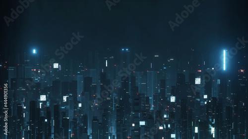 Fotografia 3D Rendering of futuristic virtual sci fi city