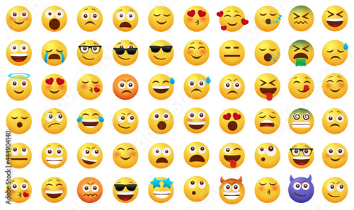 Smileys emoticon vector set. Smiley emoji with happy, funny, sad and in love facial expressions isolated in white background for emoticons icon cartoon collection design. Vector illustration