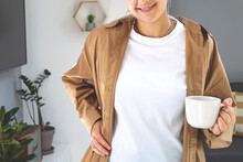 Woman Wearing White T-shirt Mock Up Under Brown Casual Shirt. Bella Canvas Mockup. Mother's Day Shirt