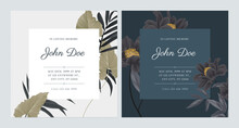 Floral Memorial And Funeral Invitation Card Template Design, Bright And Dark Theme