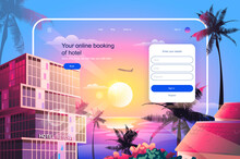 Online Booking Of Hotel Concept. Room And Apartment Reservation Service Website Layout. International Tourism And Travel, Go On Vacation. Vector Illustration In Flat Design For Landing Page