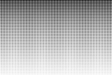 Dot Perforation Texture. Dots Halftone Seamless Pattern. Fade Shade Gradient. Noise Gradation Border. Black Patern Isolated On White Background For Overlay Effect. Grunge Points. Design Prints. Vector