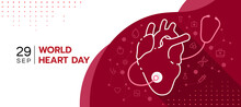 World Heart Day - Abstract Modern Line Human Heart Sign With Stethoscope Around And Icon Medical Are Connect Link On Red White Background Vector Design