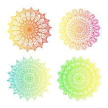 Mandalas Design. Set Of Four On White Background. Green, Blue, Yellow, Red Gradient Color. Boho Concept.