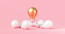 Abstract Gold Idea Light Bulb And Innovation Creative Concept On Inspiration Pink Background With Success Invention Of Electric Lamp Design. 3D Rendering.