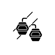Maokong Gondola Black Glyph Icon. Taipei Lift Transportation. Crystal Travel Cabins. Asian Trip. Taiwan Cable Car. Mountain Chariot. Silhouette Symbol On White Space. Vector Isolated Illustration