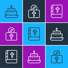 Set Line Ark Of Noah, Holy Bible Book And Donation For Church Icon. Vector