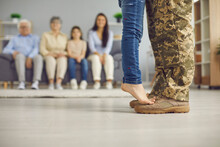 We've Been Waiting For You, Daddy. Veteran Soldier Comes Back Home From The Military. Closeup Close Up Crop Of Father's And Child's Feet Against Blurred Copyspace Background Of Living Room And Family