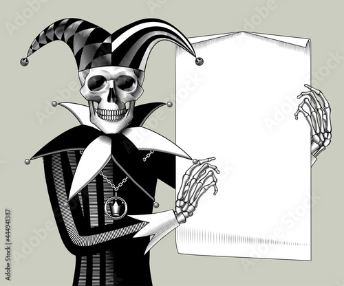 Fotografija Engraved human skeleton in a Joker suit with a paper sheet banner in the hands