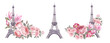 Watercolor elements of the Eiffel tower. Set rose flowers. Collection botanic illustration leaves, flower and branches.