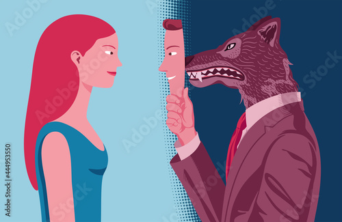 Fototapeta Vector profile portrait of man who hides his aggressive nature from a woman behind a mask of apparent kindness
