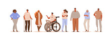 Diverse Different Ages People Standing And Talking Together. Handiclapped Characters Wearing Prosthesis, Crutches And Sitting In Wheelchair. Disable People Lifestyle. Flat Cartoon Vector Illustration.