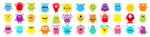 Monster Super Big Icon Set. Happy Halloween. Funny Head Face Colorful Silhouette. Cute Cartoon Kawaii Baby Character. Eyes Horn Teeth Fang Tongue. Hands Up, Down. Flat Design. White Background.