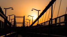 Orange Sunset Over The Sita Bridge In Rishikesh, India