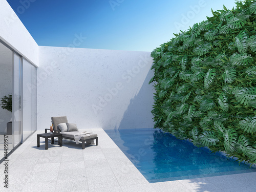 Slika na platnu Courtyard with chaise lounge and swimming pool