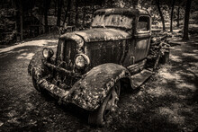 Old Rusty Abandoned Truck In A Tennessee Forest (vintage Look)