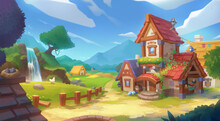 Middle Ages Small Fairy Tale Village. Concept Art For Video Games. Fiction Backdrop. Realistic Illustration. Digital CG Artwork. Industry Scenery