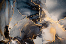 Luxury Abstract Fluid Art Painting In Alcohol Ink Technique, Mixture Of Dark Blue, Gray And Gold Paints. Imitation Of Marble Stone Cut, Glowing Golden Veins. Tender And Dreamy Design.