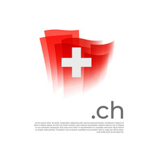 Switzerland Flag. Vector Stylized Design National Poster On A White Background. Swiss Flag Painted With Abstract Brush Strokes With Ch Domain, Place For Text. State Patriotic Banner Of Switzerland