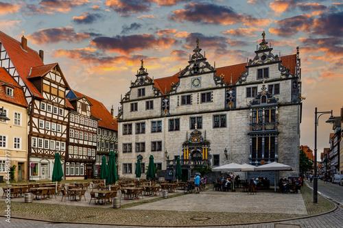 Billede på lærred The historic town hall of Hannoversch Münden in Lower Saxony