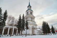 Orthodox White Cathedral Church With Spires, Domes, A Cross On A Winter Day And Snow Around In Russia