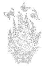 Bouquet Of Fancy Flowers In The Basket Surrounded Flying Butterf