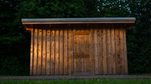 Wooden Garden Shed At Golden Hour