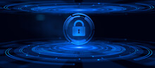 Cyber Security Data Privacy Concept On Virtual Screen.