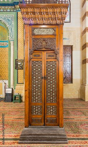 Obraz na plátne Old aged wooden door of Minbar of Imam Al Shafii Mosque with arabesque decoratio